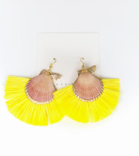 Shell with Raffia Tassel Earrings Hot Sale Handmade Accessory for Women Girls 2019 Statement Fashion Jewelry