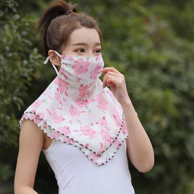 Fashion Woman Printing Mask High Quality Chiffon Neck Protection Breathable Mask Solid Color Sunscreen Mask For Cycling 1