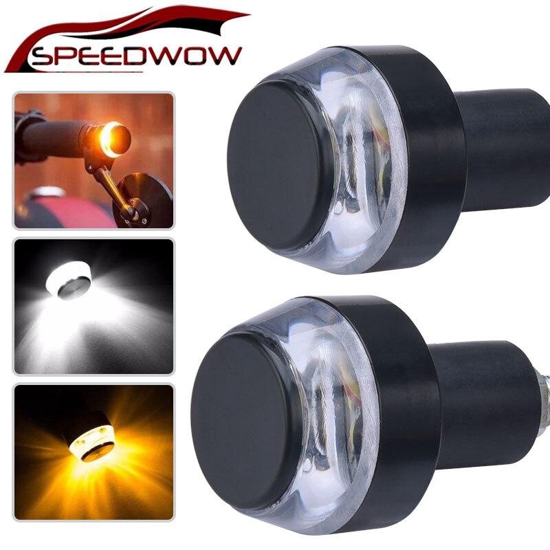 2 adet 12V motosiklet gidonu son led sinyal lambası gidon kavrama yan yön ışık işaretleyici lamba göstergesi modifiye lamba title=