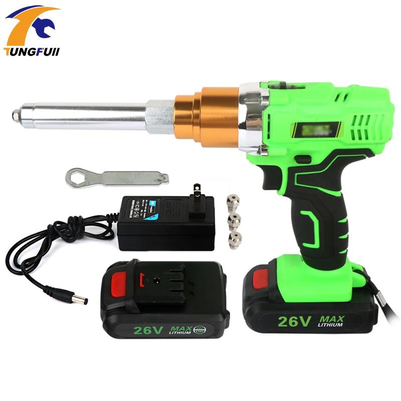 26V Electric Rivet Gun 3000mAh Portable Cordless Rechargeable Electric Blind Riveter Gun Support 2.4-5.0mm Rivet With LED Light