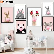 Детский постер розовый воздушный шар животное кролик настенное