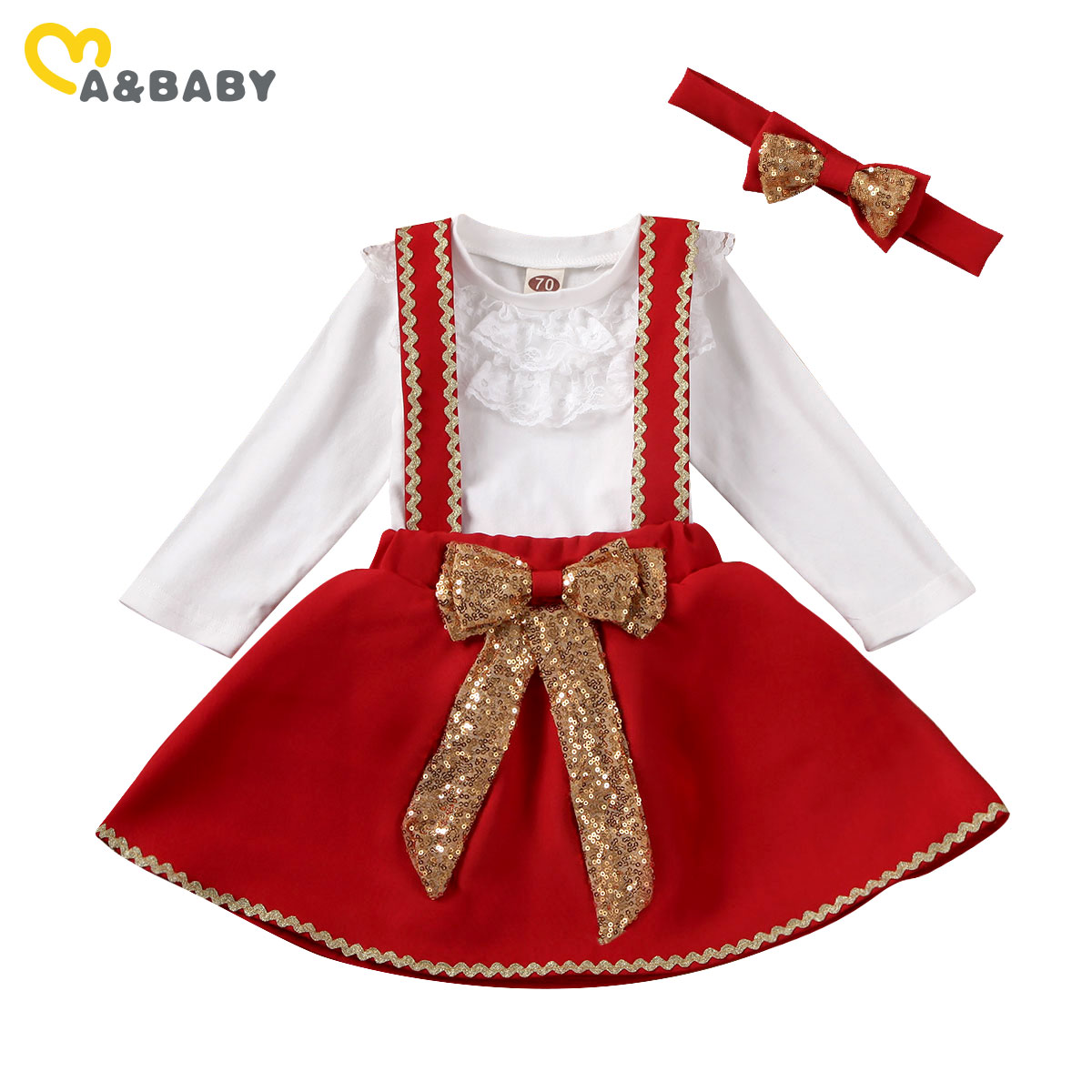 Conjunto de ropa de Navidad para bebés recién nacidos de 0 a 18M de Ma & Baby, conjunto de ropa roja de encaje con volantes, Mono Blanco, faldas con lazo de lentejuelas, trajes de fiesta de navidad Mono sin mangas para niño recién nacido, sin mangas, con motivos florales, ropa para niña bebé
