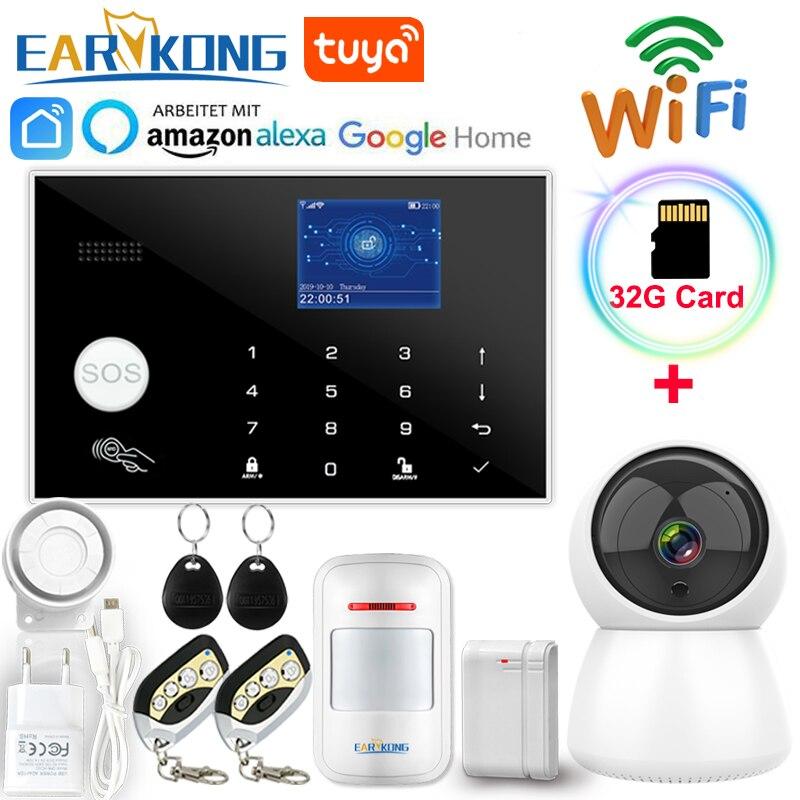 Système d'alarme Wifi GSM 433MHz détecteur sans fil et filaire alarmes antivol RFID TFT LCD clavier tactile 11 langues Compatible Alexa