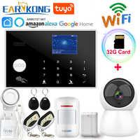 Wifi GSM Alarm System 433MHz Wireless & Verdrahtete Melder Einbrecher Alarme RFID TFT LCD Touch Tastatur 11 Sprachen Kompatibel alexa
