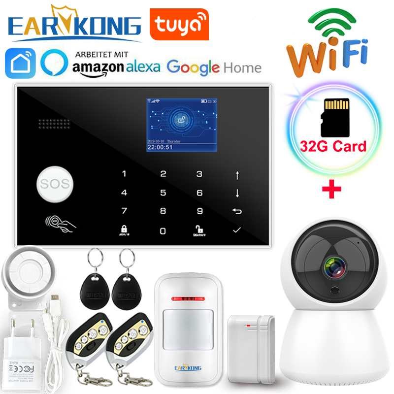 Wifi GSM Alarm System 433MHz Wireless & Wired Detector Burglar Alarms RFID TFT LCD Touch Keyboard 11 Languages Compatible Alexa