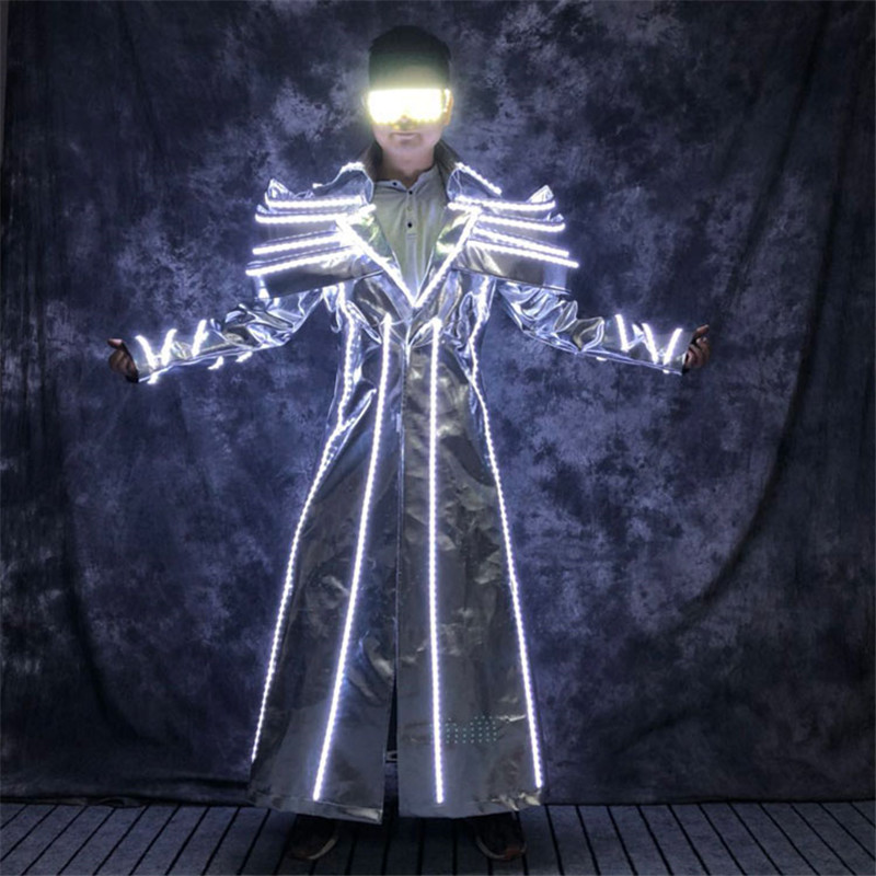 Luminous Led Jacket Glowing Light Costume Future Technology Space Show Stage Performance Clothing Men RGB Light Robot Men Suit