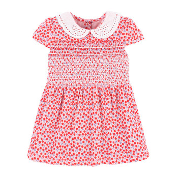 Little Maven New Summer Kids Cherry Printed Red Turn-down Collar Lace Smock Lantern Girls 2-7yrs Cotton Knitted Princess Dresses