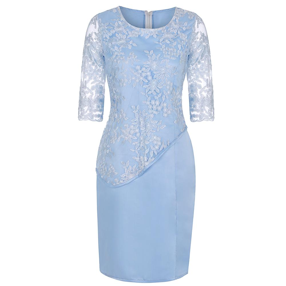Plus Size Mother Of The Bride Dresses Half Sleeve Formal Wedding Party Gown Lace Patchwork robe mere de la mariee 2019 Onepiece 3