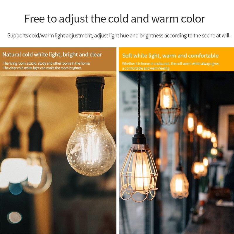 Retro Filament Light Bulb JOSHNESE Filament WiFi Smart Light Bulb EWeLink APP Remote Control 2700-6500K Cold Warm Dual-color
