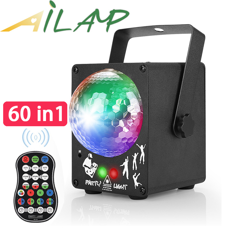 60 Pattern RG Laser Projector Stage Light RI Control Colorful Spin Disco Light Sound Control Stage Effect Lighting Ktv Dj Lights