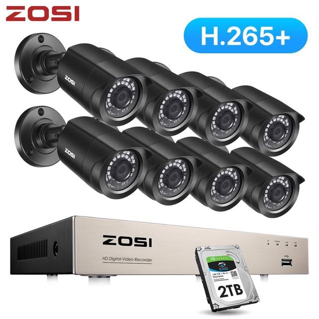 ZOSI 8CH CCTV System H.265+ HD TVI DVR kit 8 1080p Home Security Waterproof Outdoor Night Vision Camera Video Surveillance Kit
