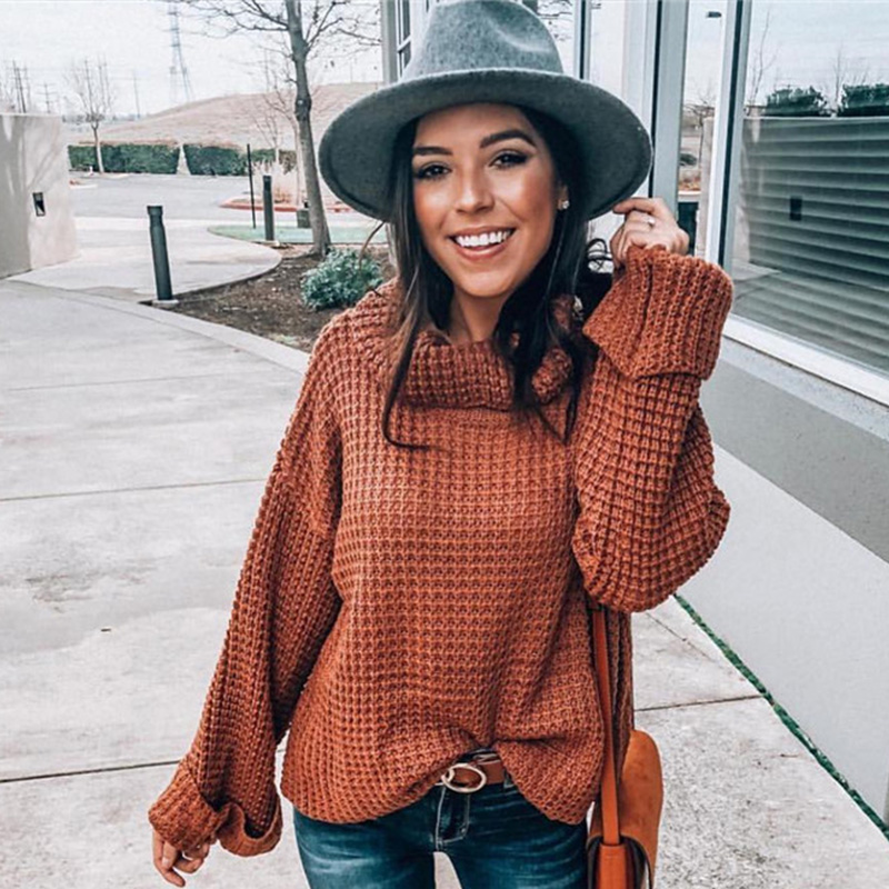 ALLNeon Fashion Turtleneck Sweater For Women Solid Oversized Long Sleeve Knitted Pullovers Cut Out Ladies Winter Sweaters 2019