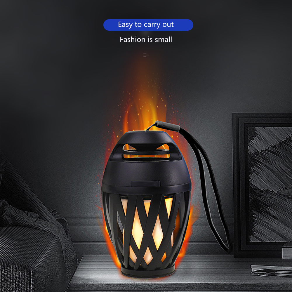 Portable USB Charge Wireless Bluetooth Speaker Flame LED Lamps Small Outdoor Bluetooth Flame Atmosphere Light Music Player