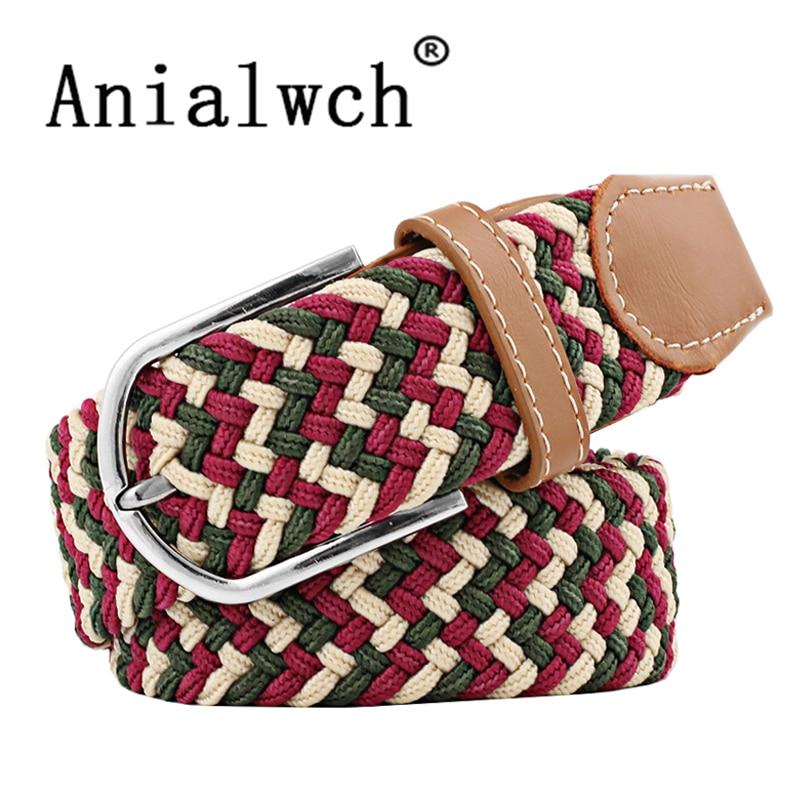 105*3.5cm 39color Unisex Women's Casual stretchy Knitted   Belt   Woven Canvas Elastic Stretch   Belt   Plain Webbing   Belt   mens U005