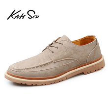 KATESEN 2019 Autumn New men shoes Men Martens Shoes Brogue Casual Genuine Leather Work Business Sneakers
