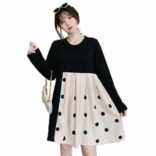 Stylish Woman Autumn Dress Black White Patchwork Polka Dot Pattern One Piece Long Sleeve Knee Length High Waist Dresses Women stylish patchwork pattern pleated scarf for women