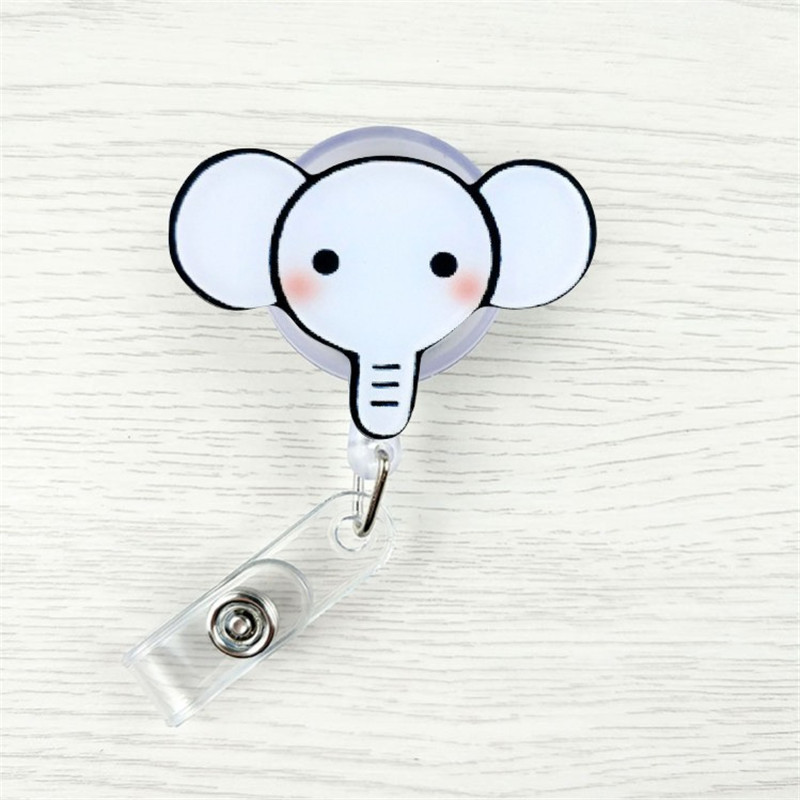 1 Pcs Cute Cartoon Mini Retractable Badge Reel Elephant Monkey Lanyards ID Name Card Badge Holder Clip Student Badge Holder