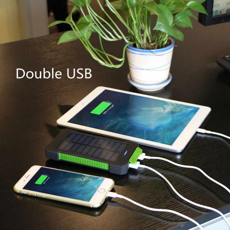 למעלה שמש בנק כוח עמיד למים 30000mAh שמש מטען 2 יציאות USB חיצוני מטען Powerbank עבור שיאו mi mi iPhone 8 Smartphone