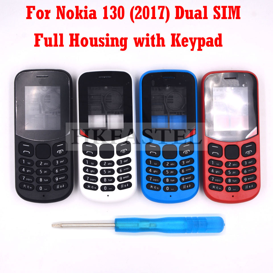 HKFASTEL High Quality Housing Keyboard For Nokia 130 2017 Dual SIM New Full All Complete Mobile Phone Cover Case With Keypad