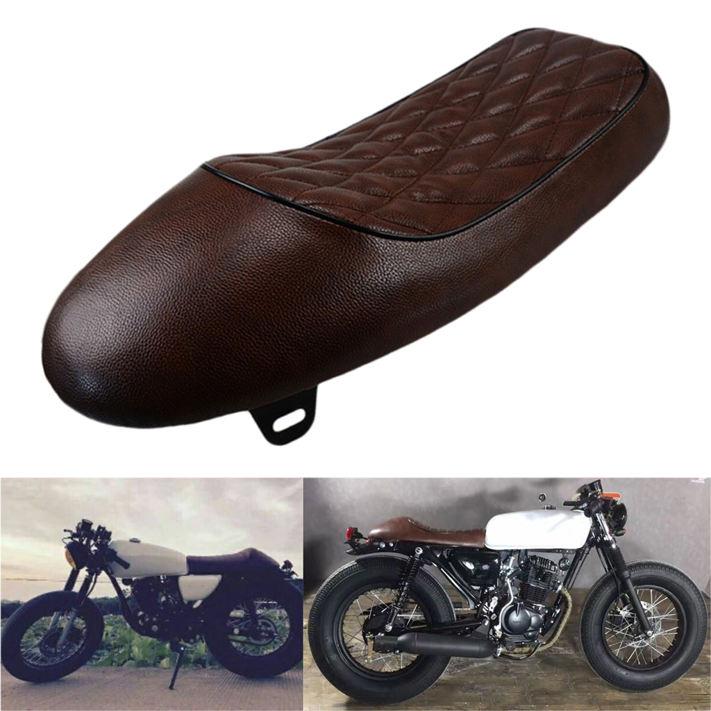 Retro Motorcycle Cafe Racer Seat Hump Brat Style Vintage Saddle Cushion Replacement For Honda CB CL Motorbikes Brown