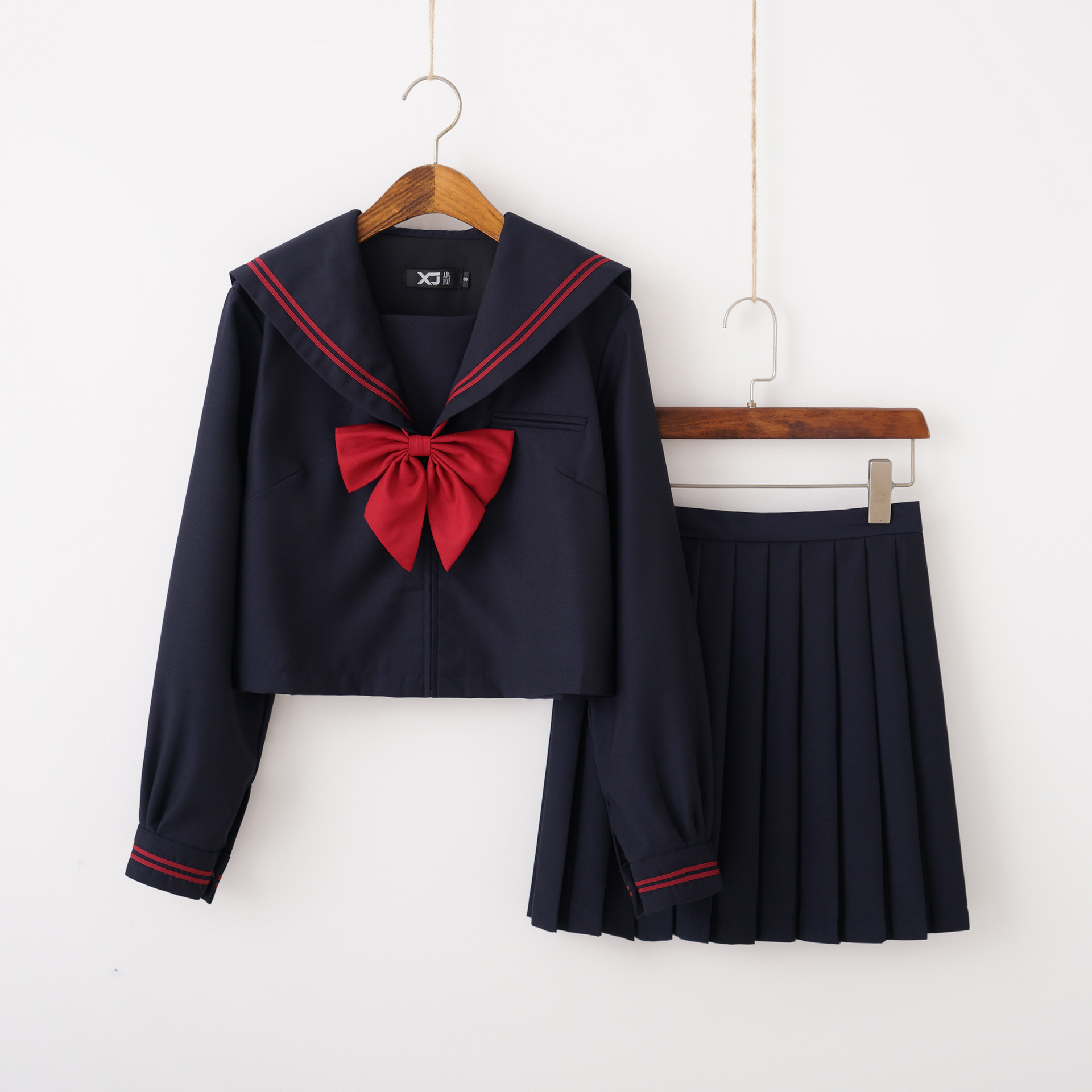 New Autumn Japanese Orthodox Jk School Uniform Girls Cute Sailor Suits Black Tops Pleated Skirt Red Bowtie Sets Cosplay Costume