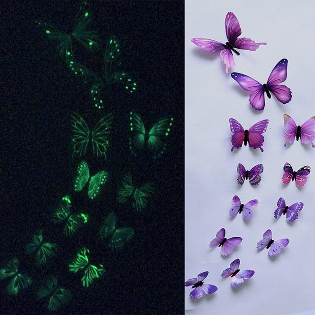 12pcs Luminous Butterfly Design Decal Art Wall Stickers Room Butterflies Home Decor DIY Stickers 3D Fridge Wallpaper Decoration 1