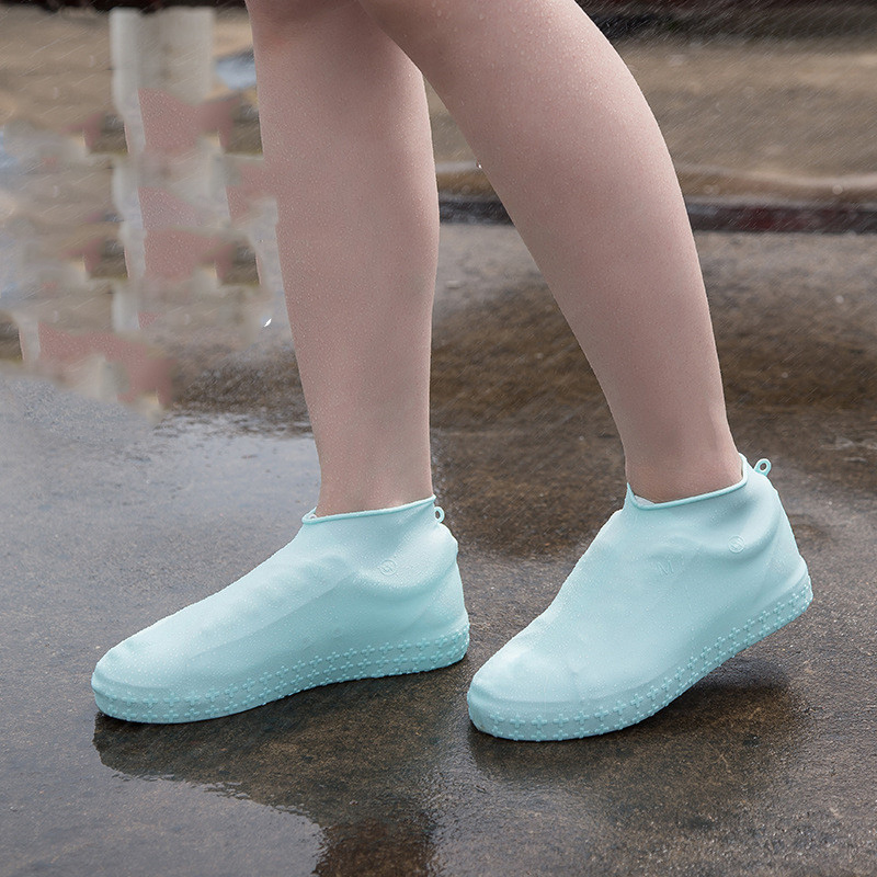 Silicone Shoe Cover Outdoor Non-slip Waterproof Shoe Cover Thick Rain Boots Solid Color Elastic Pink Yellow Gray Shoe Protection