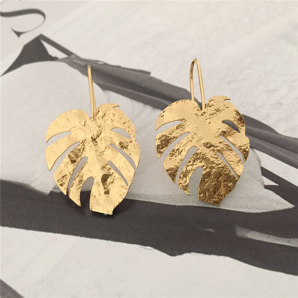 New Gorgeous Gold Color Plating Monstera Palm Gree Leaf Charm Drop Earrings For Women Girl Elegant Casual Chic Modern Jewelry