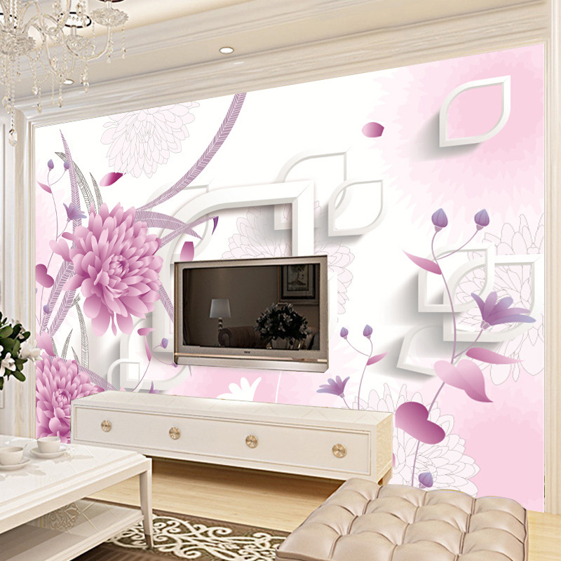 Wallpaper Mural Sticker 3D Nonwoven Fabric Bedroom European Countryside Style Living Room Modern Minimalist TV Backdrop