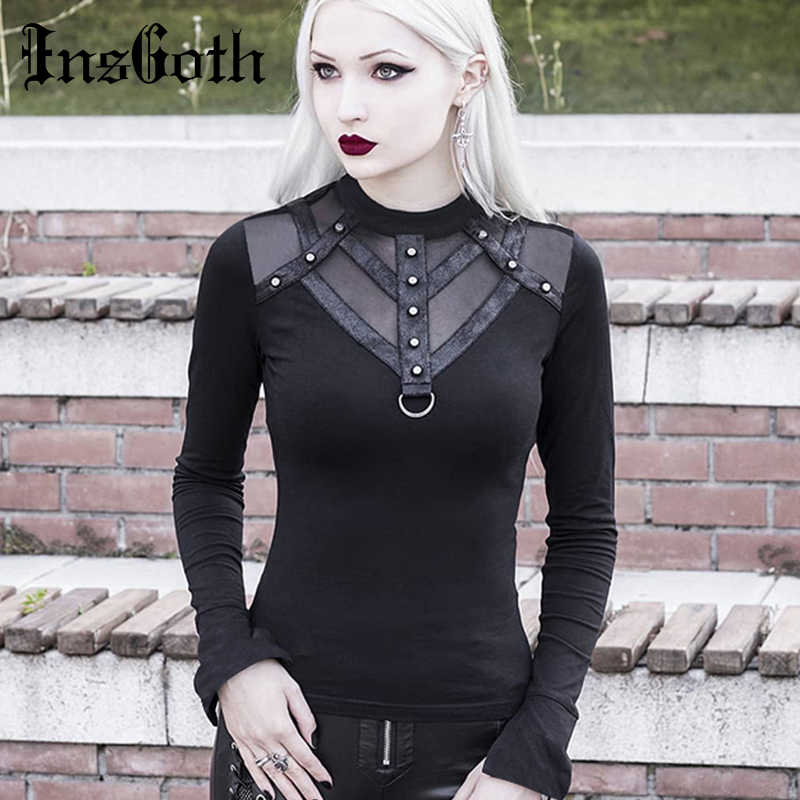 InsGoth Mesh Patchwork Long Sleeve Bodycon Black Tops Women Gothic Streetwear Punk Slim Turtleneck Female T-shirts Harajuku