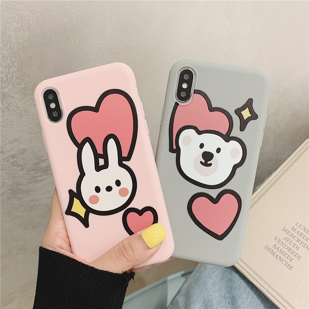 Funny Cartoon Bear Phone <font><b>Cases</b></font> For <font><b>Iphone</b></font> 11 Pro Xs Max Xr X <font><b>Case</b></font> For <font><b>Iphone</b></font> 6 6s <font><b>7</b></font> 8 Plus Cover Cute Painting Soft Silicon Capa image