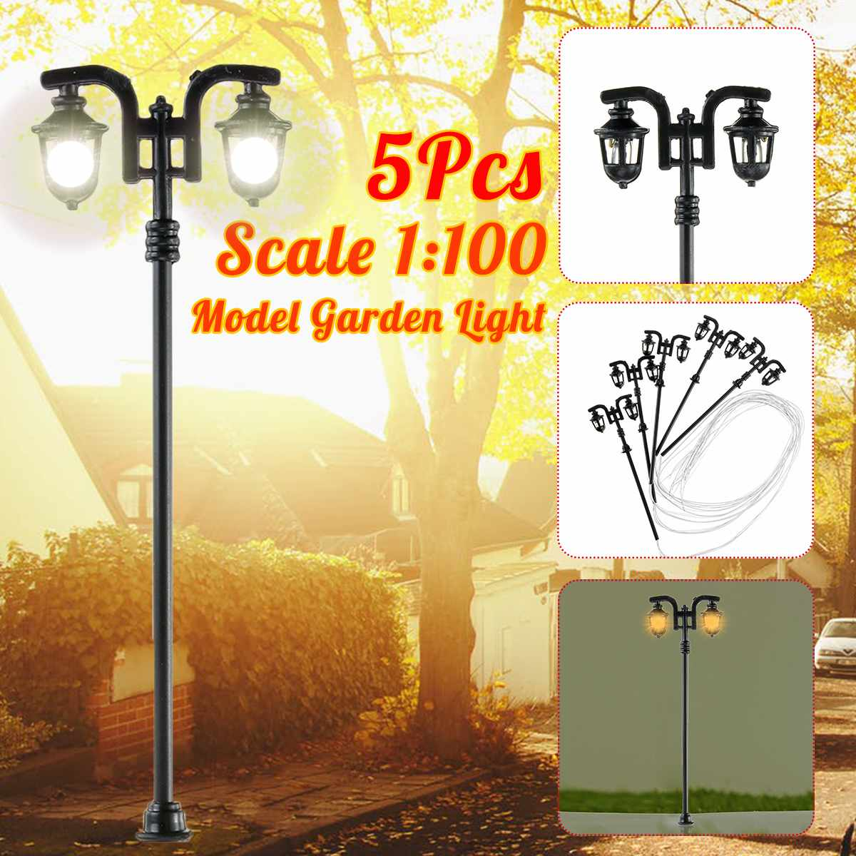 20pcs 1:100 Model Garden Street Light Double Heads Lamppost Mini Railway Train Lamp Micro Landscape Light Model
