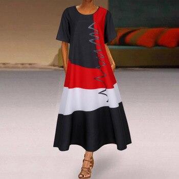 2020 женское богемное платье средней длины в стиле пэчворк, летние вечерние платья с коротким рукавом, женское длинное повседневное пляжное платье с круглым вырезом 2