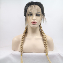 Braided Wig Melody Lace-Front Synthetic Highlight Dark Blonde Ombre Women Long Big