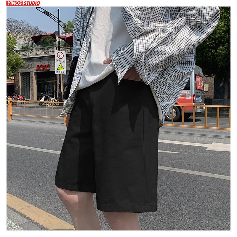 Dropshipping Men Summer Solid Black Shorts Mens 2020 Knee Length Korean Loose Hip Hop Sweatpants Male Fashion Beach Shorts 5XL