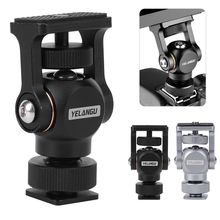 YELANGU Camera Ball Head Hot Shoe Adapter 180 Degree Adjustable Mount Bracket for Camera Field Monitor Microphone Fill Light