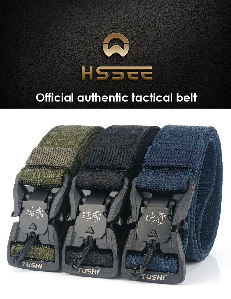 H58a21d9c3e1e44868df7912b90966ca31 - HSSEE Official Genuine Tactical Belt Hard ABS Quick Release Magnetic Buckle Military Belt Soft Real Nylon Sports Accessories