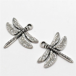 20Pcs Tibet Silver Dragonfly Charms Pendant Metal Pendants for Necklace Bracelet Jewelry Making DIY and Crafting