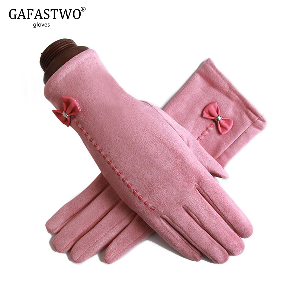 Winter Plus Velvet New Women Fashion Warm Gloves Ladies Synthetic Suede Gloves Touch Screen Bow Decoration Red Pink Color