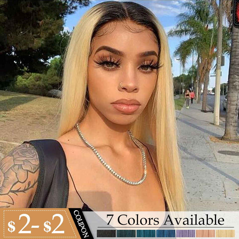 Bella Straight Ombre Blonde Pink Purple Black Blue 7 Colors Synthetic Lace Front Wigs For Women 20inch Middle Heat Resistant Wig
