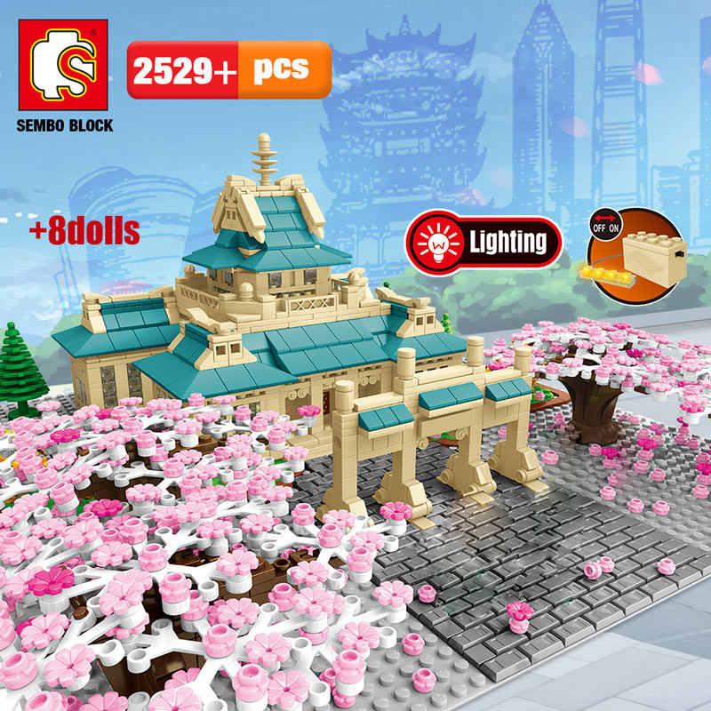 SEMBO New Cherry blossom season City street view tree house Flower Building Blocks architecture model bricks toys for children