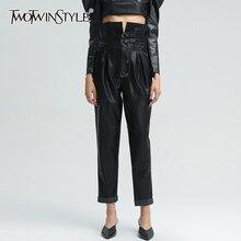 TWOTWINSTYLE-pantalones bombachos para mujer, ropa informal suelta de retazos de cintura alta, color negro, Ropa nueva, 2020