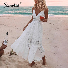Simplee Stickerei weiß sexy frauen sommer kleid v ausschnitt spaghetti strap perle tasten baumwolle kleider Abend party lange vestidos