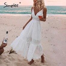 Simplee רקמה לבן סקסי נשים קיץ שמלת V צוואר ספגטי רצועת כפתורי פנינת כותנה שמלות ערב המפלגה ארוך vestidos