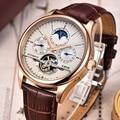 Бренд LIGE, мужские часы, автоматические механические часы, турбийон, спортивные часы, кожаные, повседневные, деловые, наручные часы, золотые, ...