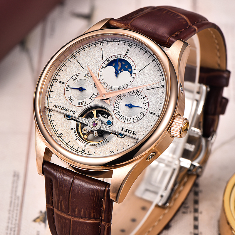 LIGE Brand Men watches Automatic mechanical watch tourbillon Sport clock leather Casual business wristwatch Gold relojes hombre-in Mechanical Watches from Watches    1