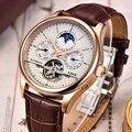 LIGE Marca Degli Uomini orologi tourbillon Automatico orologio meccanico orologio di Sport di cuoio Casual di affari orologio da polso In Oro relojes hombre