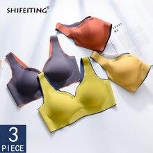 Dropship 3 pçs push up bralette underwear sem costura sutiãs para mulher refrigerar reúne à prova de choque feminino íntimo sutiã confortável bh