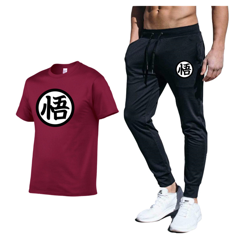 Anime Dragon Ball Tracksuit 2020 Men Clothing Sportswear Set Fitness Summer Print Men Pant + T Shirt Men's Suit 2 Pieces Sets