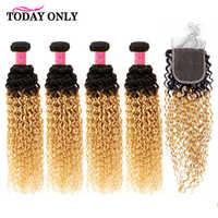 Aujourd'hui seulement blonds 4 paquets avec fermeture brésilienne crépus bouclés paquets de cheveux avec fermeture Remy paquets de cheveux humains avec fermeture